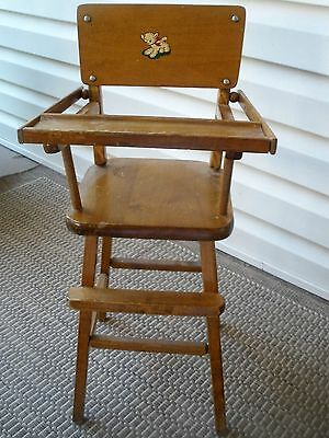 Vintage Wooden Doll High Chair > Antique Toy Old Dolly Highchair by appleton