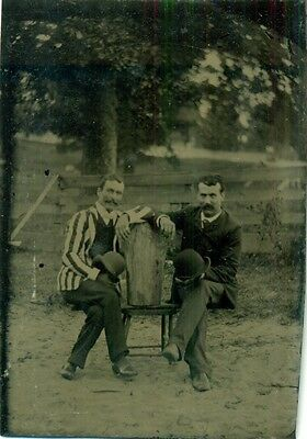 vintage tintype photo 2 dandies in dandy clothes w/big mustaches & bowler hats