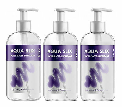 Kinx Aqua Slix Lubricant Water-Based-Lube Sex Toy Safe 3x250ml