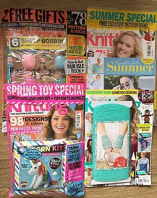 Simply knitting Magazine x 4 With Gifts. Issue 135 , 145 , 156 , 158