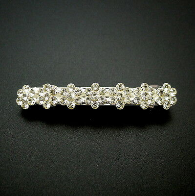 """Small 2.5"""" Silver Rhinestone Crystal Flowers Jeweled Barrette Updo Hair Clip Pin"""