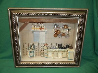"""Wooden Shadow Box Vintage Kitchen 14.5"""" W x 12.5"""" T x 2.5"""" D Ready to Hang"""