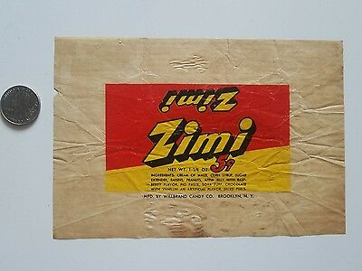 ZIMI candy vintage 1940's candy wrapper old  Willbrand Candy Co  Brooklyn, N.Y.