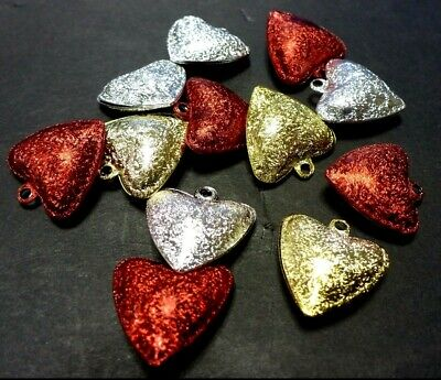 6 Metal Frosted Heart Shape Jingle Bells Craft Colours Red Silver Gold Valentine