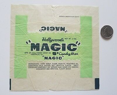 """HOLLYWOOD'S  """"MAGIC"""" vintage 1940's candy BAR wrapper old Centralia, Ill Company"""