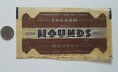 1942 MOUNDS vintage candy PETER PAUL'S chocolate coconut wrapper old 5 cents