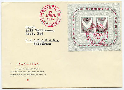 Switzerland  1945 Basel Dove Souvenir Sheet, on cover, Special red cancel,VF ++