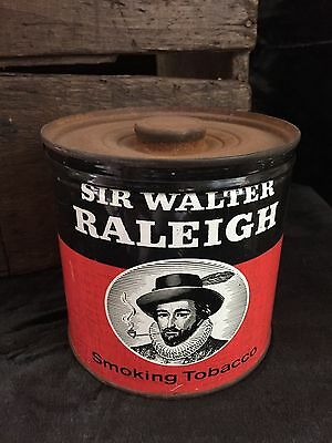 Vintage Unopened SIR WALTER RALEIGH Smoking Tobacco Antique ADVERTISING TIN Rare