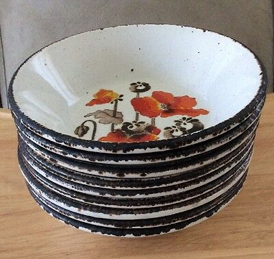 """Set of 9 - 1953 MCM Stonehenge AUTUMN Made in England Soup Bowls 6.5"""""""