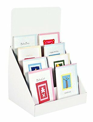Stand-Store 12-Inch 4 Tier Cardboard Greeting Card Display Stand - White
