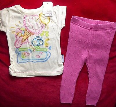 BABY GIRL 9-12 mths * ICE CREAM T-SHIRT  with PINK CABLE LEGGINGS