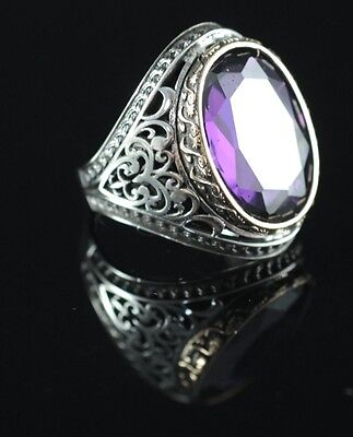 Turkish Handmade Amethyst Sterling Silver 925K And Bronze Men's Ring Size 11
