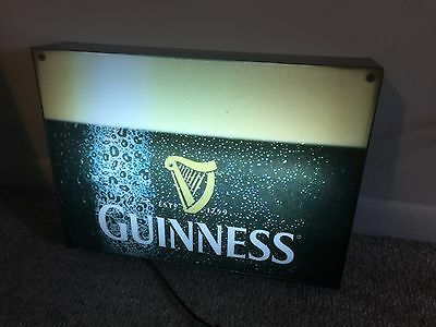 "Guinness Lighted Bar Sign 18"" X 14"" Beer Advertising Man Cave Ireland Irish Beer"