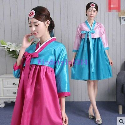 Korean Dancing Performance Costume Womens Traditional Hanbok Short-Length Dress
