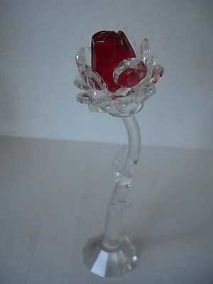 Star Crystal Glass stem Red Rose.