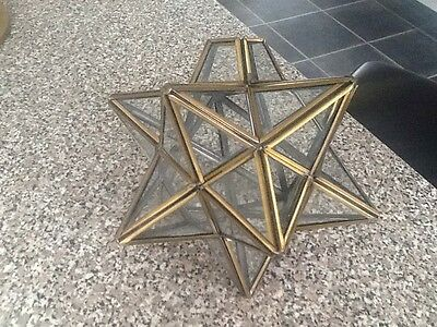 Really Nice Vintage Brass And Glass Ceiling Lamp Shade