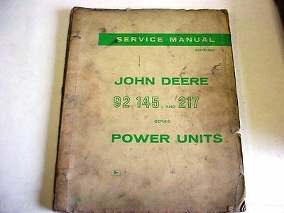 1963 John Deere SERVICE MANUAL 92, 145 & 217 Power Units