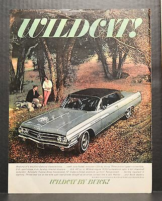 1960s Vintage Magazine Print Ad Buick WILDCAT 1963 Car Green M31