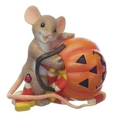 """New Charming Tails 130454 3.25"""" Candy Corn with Pumpkin Mouse FREE SHIPPING"""