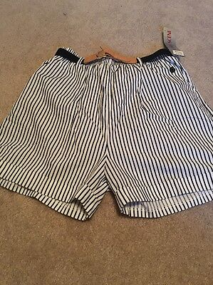Changing Scene Woman's Blue White Striped Shorts With Belt Size 13 14