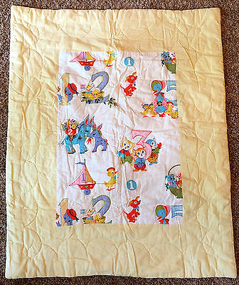 Baby Quilt Blanket Play Pad 40 x 32 Yellow Animals Numbers Vintage