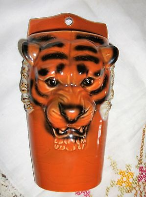 Pair of  unique vintage TIGER  wall pockets ESSO ?? Put a tiger in your tank !!
