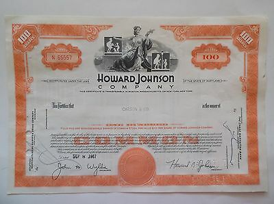 Howard Johnson Company Stock Certificate 1967 ~ Orange