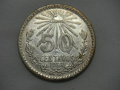 1938 Mexico 50 Centavos RARE KEY DATE Silver .720 AU Condition