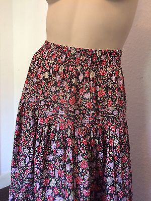 VINTAGE LAURA ASHLEY 1950s STYLE FLORAL TIERED GYPSY MAXI SKIRT,  8,10,12,14