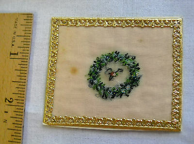 Antique Victorian German Small Miniature Petit-point Wreath of Flowers (g 4)