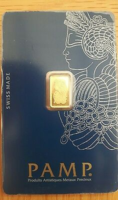 Pamp Suisse 1g 24k Gold Bullion Bar Lady Fortuna Veriscan design. 100% Real. UK
