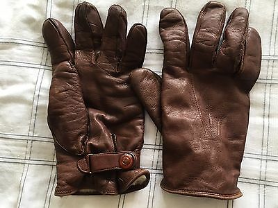 Gents Vintage Brown Leather Driving Gloves Size 9.5 By Dents