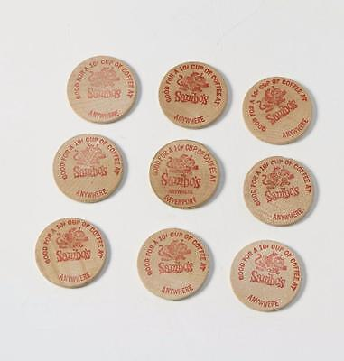 Lot of 9 Old Vintage SAMBO'S Restaurant Wooden Nickel / TOKENS Cup Of Coffee