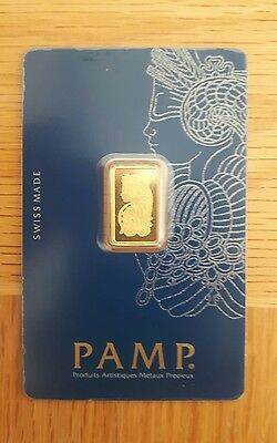 Pamp Suisse 2.5g 24k Gold Bullion Bar Lady Fortuna Veriscan design. 100% Real.UK