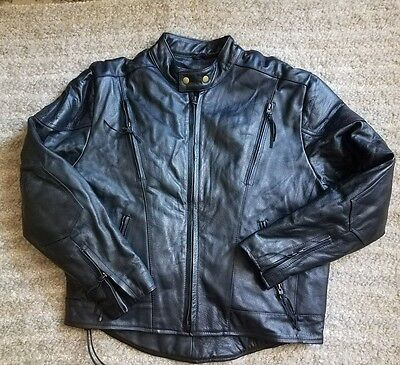 Thinsulate Genuine Black Leather Motorcycle Jacket Men's Size Xl Lined! New