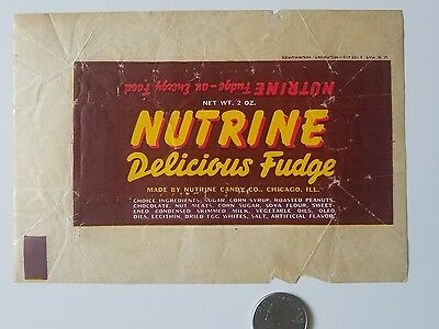 NUTRINE Delicious FUDGE 1940's candy wrapper old vintage Energy Food Chicago