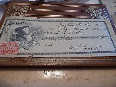 Obsolete Bank Check Clayton, Ill. 1899 365 Days Promissory Note. Booth owes $5.+