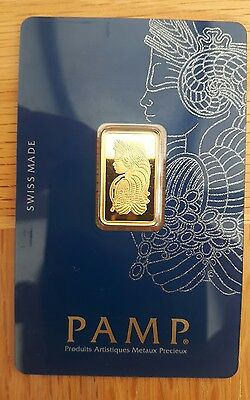 Pamp Suisse 5g 24k Gold Bullion Bar Lady Fortuna Veriscan design. 100% Real.UK