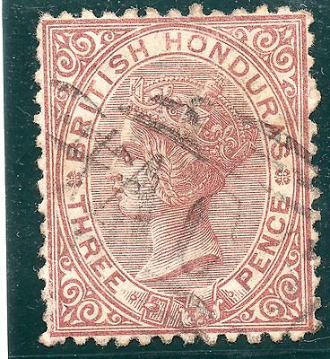 British Honduras 3d red brown 1872-9 wmk CC P12.5 Cat £80