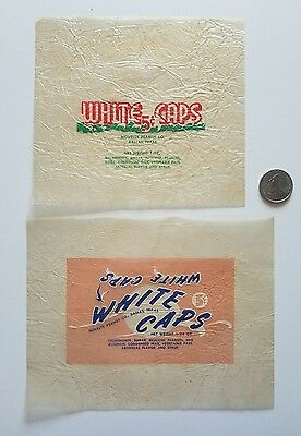 2-two WHITE CAPS 1940's candy wrapper old Novelty Peanut Co. Dallas TX vintage
