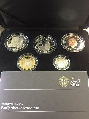 2008 UNITED KINGDOM Royal mint Family Silver Proof Collection Leatherette Case