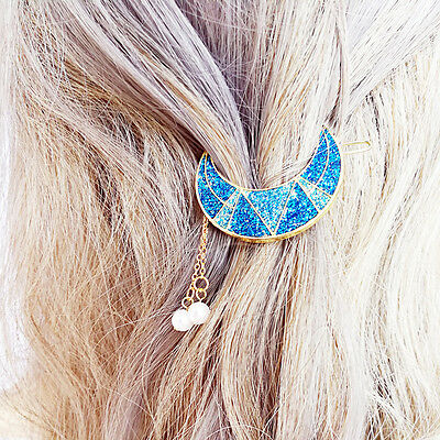 Gold Tone Glitter Crescent Moon Hair Clip Barrette with Pearl Fringe Dangling