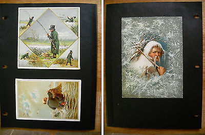 3 Antique Victorian Christmas New Year Cards Jack Frost Fishing (p.408)