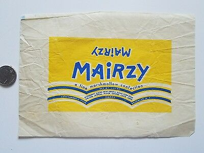 MAIRZY marshmellow CONFECTION vintage 1940's candy wrapper old TOPPS