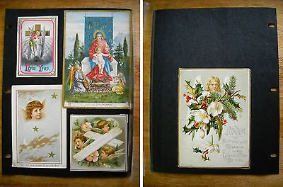 5 Antique Victorian Christmas New Year Cards Tuck, Madonna & Child Angel (p.410)