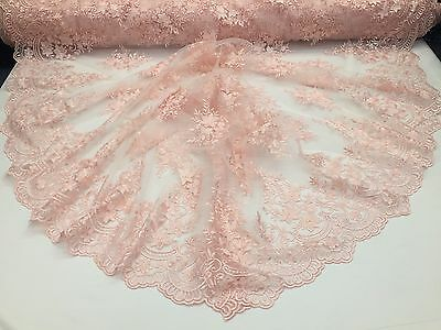Authentic Design Bridal Wedding Mesh Lace Fabric Pink. Sold By The Yard