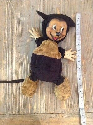 Antique vintage original Mickey Mouse rubber faced soft toy