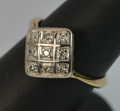 Art Deco 18ct Gold Platinum and Diamond Marquise Cluster Ring d0673
