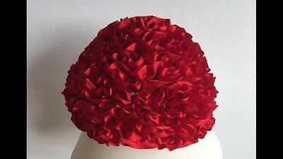 Ladies 1960's Red Ruffle Effect Hat