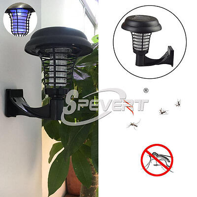 Solar Powered Outdoor UV Flying Mosquito Insect Bug Zapper Killer Garden Lawn